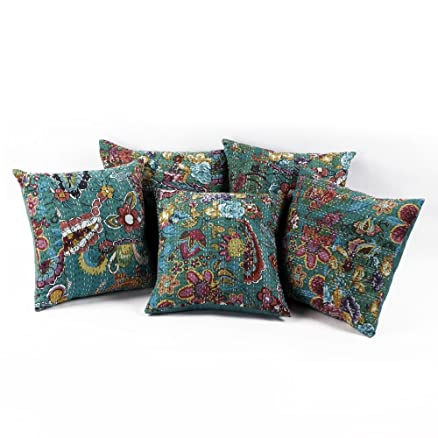 Buy Mandideep cotton cushion cover set of five in green color