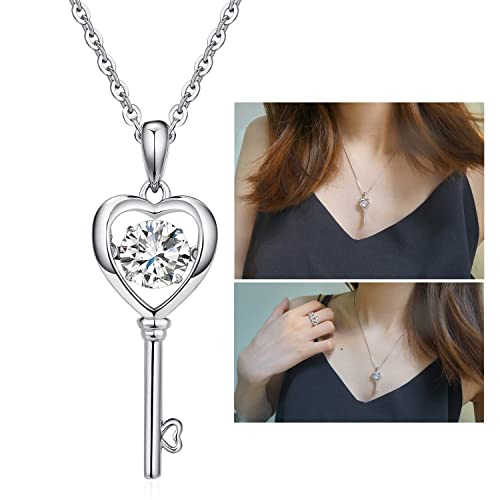 Heart key necklace unique fashion dancing jewelry set sterling heart key necklace unique fashion dancing jewelry set sterling silver dancing diamond heart key mozeypictures Image collections