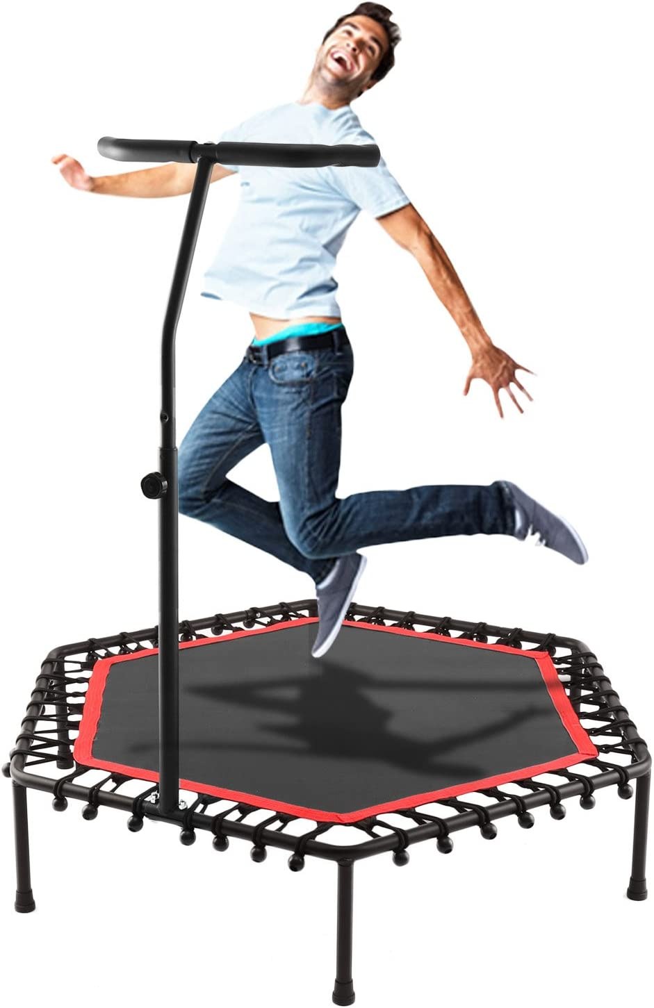 Scallop Foldable Fitness Trampoline Adult Kids Mini Rebounder Trampoline with adjustable Handrail for Indoor Outdoor Exercise Jumper UK Stock