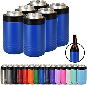 Clear Water Home Goods - 12 oz Stainless Steel Double Wall Vacuum Insulated Can or Bottle Cooler Keeps Beverage Cold for Hours - Powder Coated Royal Blue - 6 Pack