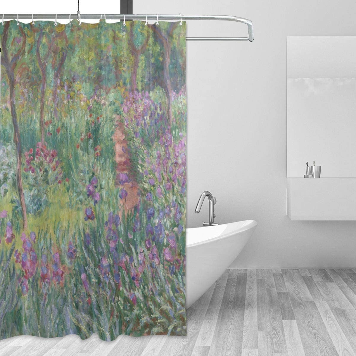 AHOMY Shower Curtain Set 72 x 72 Inches, Monet's Iris Garden at Giverny Bath Curtain Waterproof Bathroom Shower Curtains with 12 Hooks