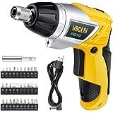 URCERI SND133 Electric Screwdriver 2000mAh Li-Ion Rechargeable Cordless Screw Gun with 6+1 Torque USB Charging Cable 30pcs Driver Bits LED Light, Yellow