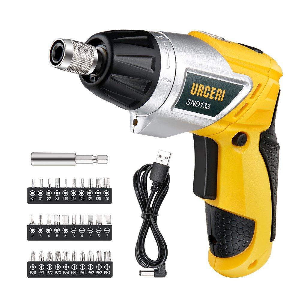 URCERI Electric Screwdriver Hand Drill 3.6V 2000mAh Li-Ion MAX Torque 6N.m Cordless Screwdriver with 6+1 Torque, 30pcs Driver Bits, LED Light Bulbs, USB Charging Cable