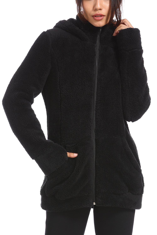 Womens Active Ultra Soft Fur Fleece Long Sleeve Hoodie Full Zip Warm Winter Jack (073-Black, 2XL)