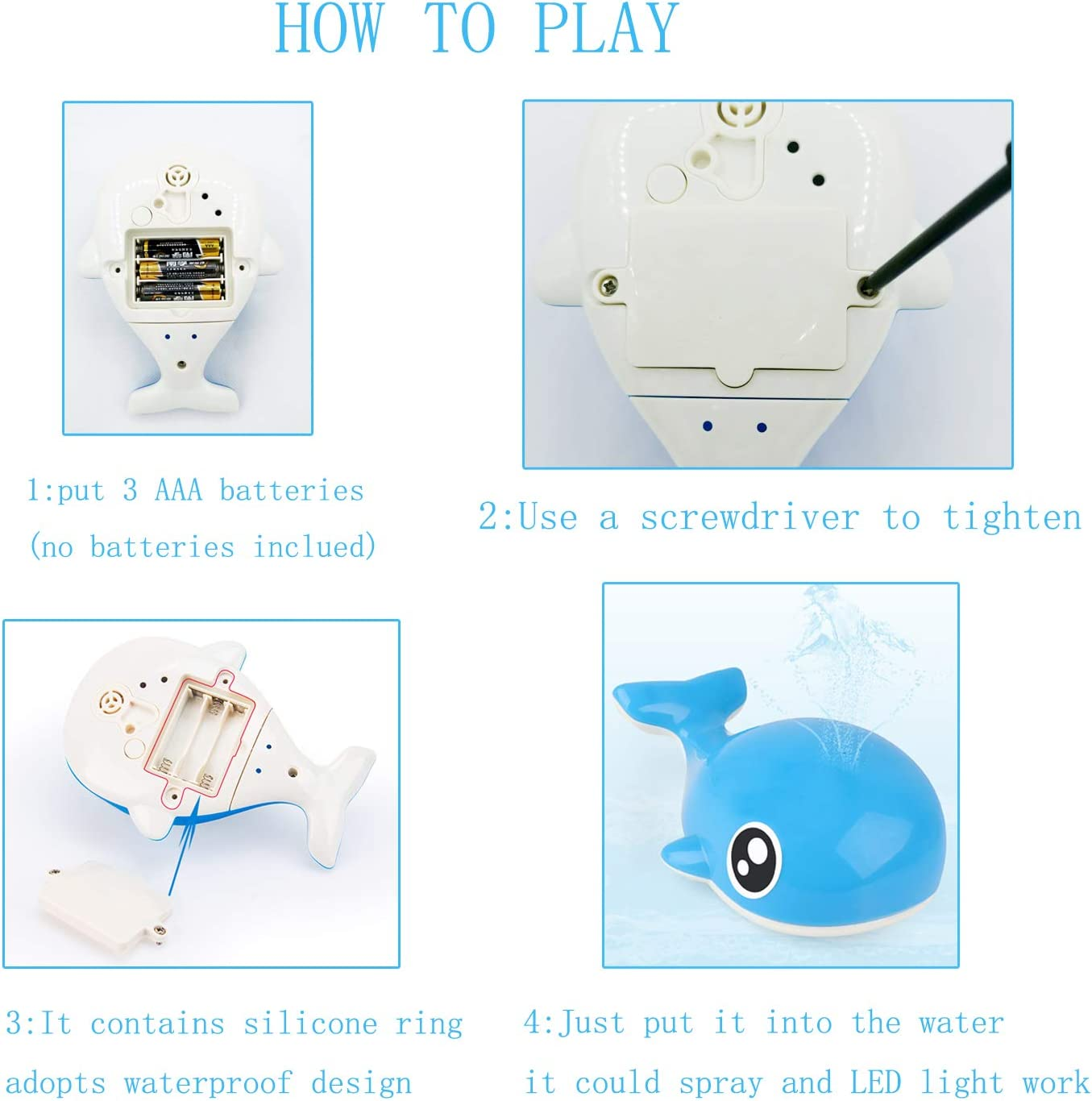 Bath Toys,2 in 1 Induction Spray Water Toy with LED Light,Spray Water Whale Automatic Induction Sprinkler Bath Toy Bathtub Toys for Toddlers