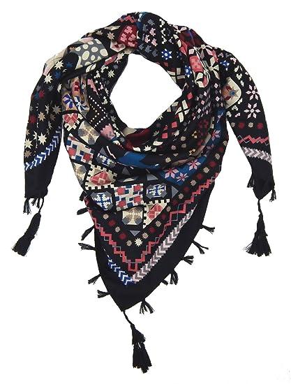 84c012a0ff82 Ella Jonte Foulard Écharpe triangle pour femme élégant et tendance de la  dernière collection noir coton