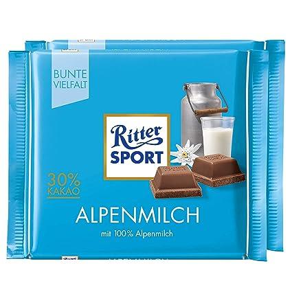 Amazon Com Ritter Sport Alpine Milk Chocolate Bar Candy Original German Chocolate 100g 3 52oz Pack Of 2 Grocery Gourmet Food