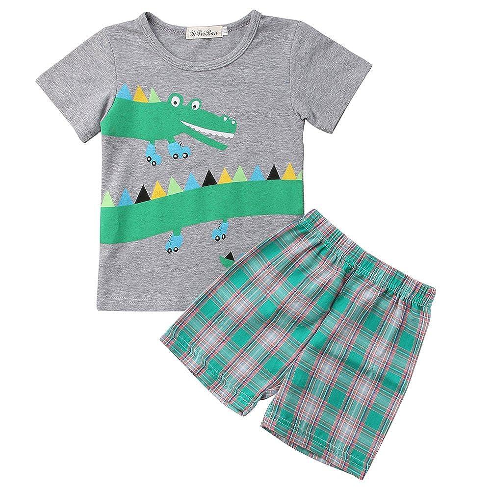 2Pcs Toddler Kids Boys Summer Cartoon Crocodile T-Shirt Tops Plaid Shorts Outfits Set Clothes