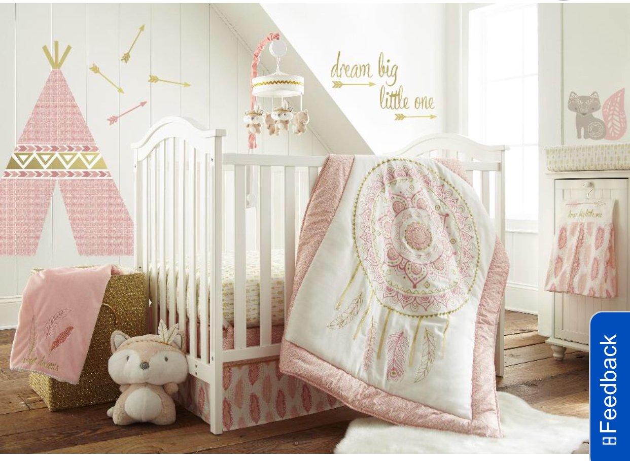 Levtex Baby Little Feather 5ピースベビーベッド寝具セット – コーラル   B077KYL76Z