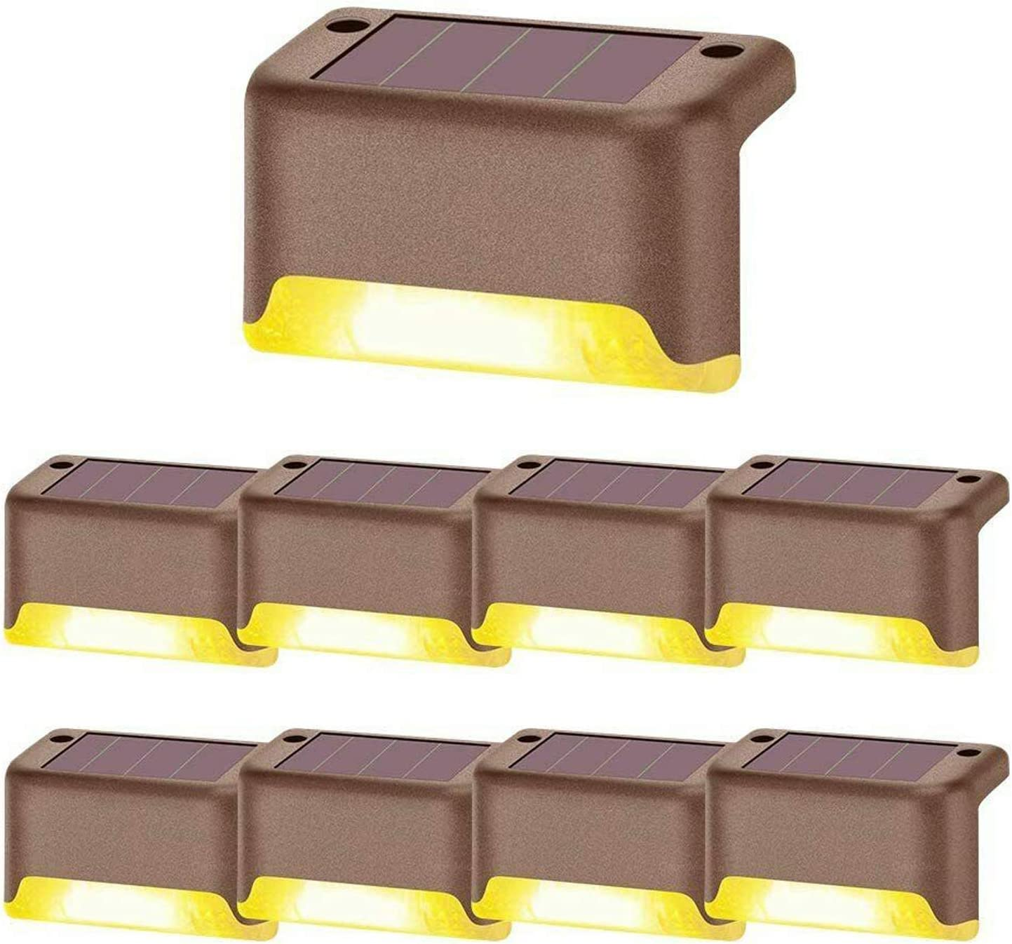 Solar Deck Lights Outdoor, Waterproof LED Solar Powered Step Lamp, Warm White Decorative Lighting Auto On/Off for Stairs Garden Patio Fence Yard (8Pcs)