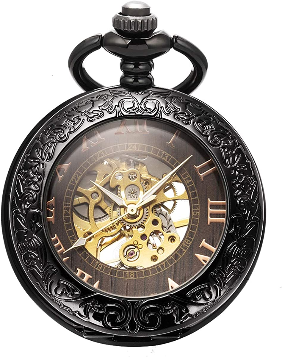Manchda Reloj de Bolsillo con Cadena para Hombre Retro Esqueleto mecánico analógico Cuerda Manual Antiguo Lupa diseño Negro: Amazon.es: Relojes