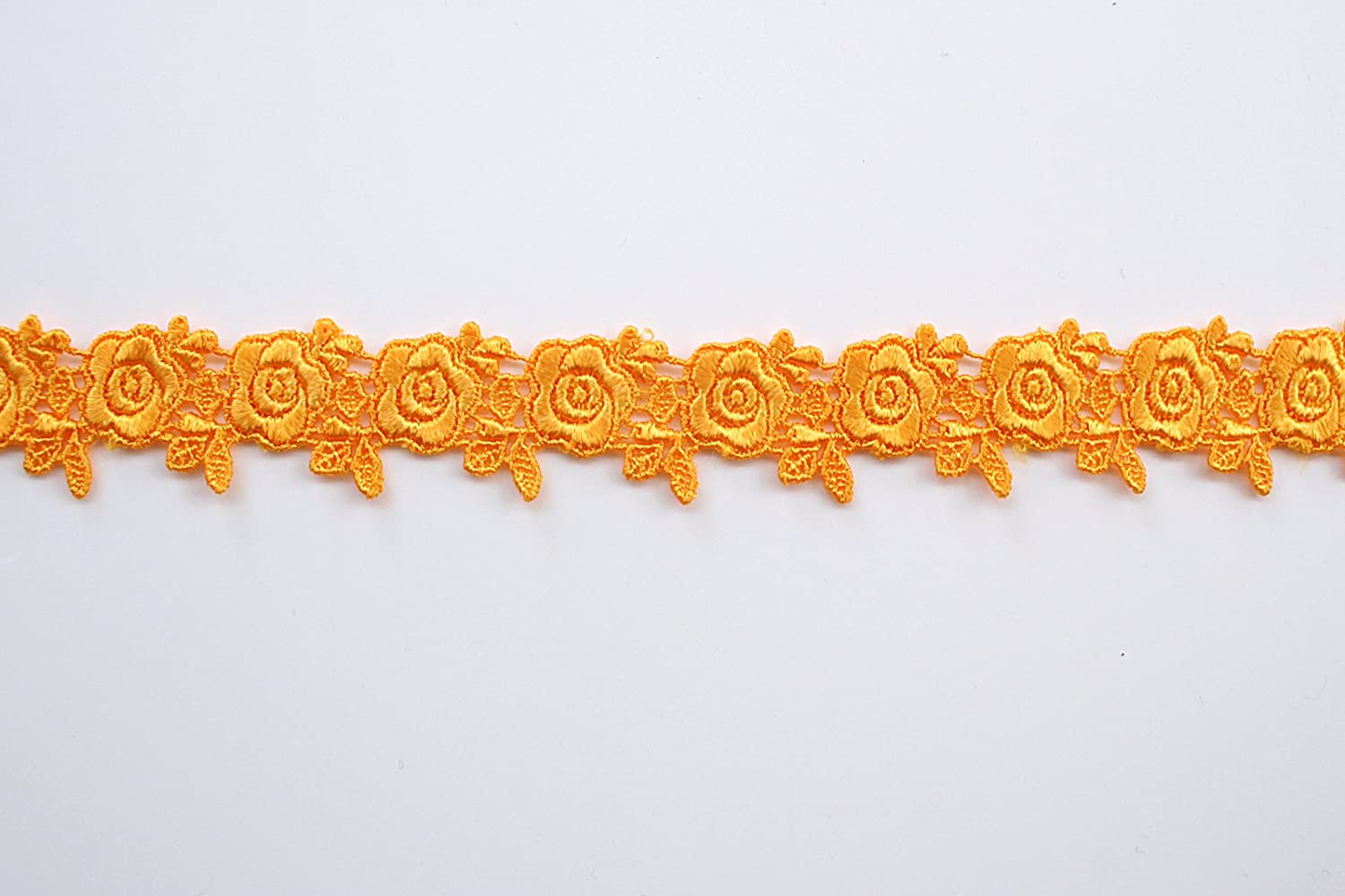 Altotux 1 19 Colors of Embroidered Floral Venice Lace Trim Guipure Trimming By Yard Orange