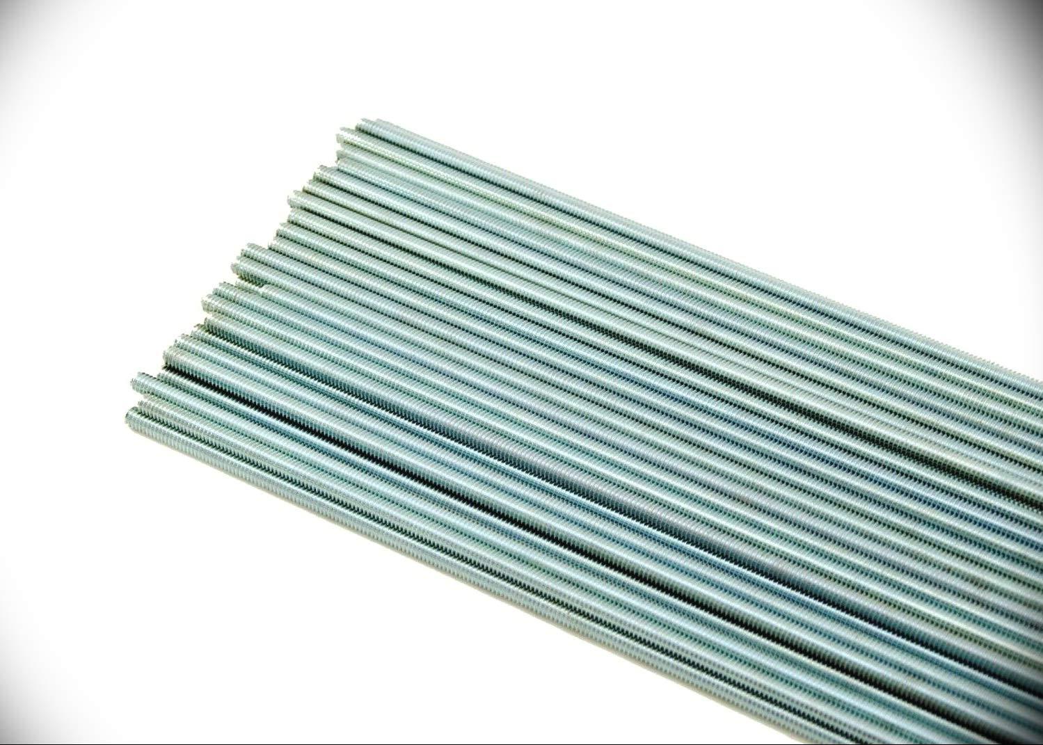 50 PCs Threaded Rod 10-24 x 36'' Machine Thread Zinc Plated All-Thread #10 x 3 ft Metric Hardware Fastener Bolts Kit