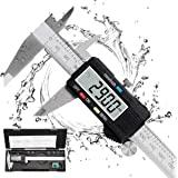 Caliper Measuring Tool, Qfun Vernier Digital Caliper Stainless Steel 6 Inch/150mm, Digital Micrometer Waterproof, Easy Switch