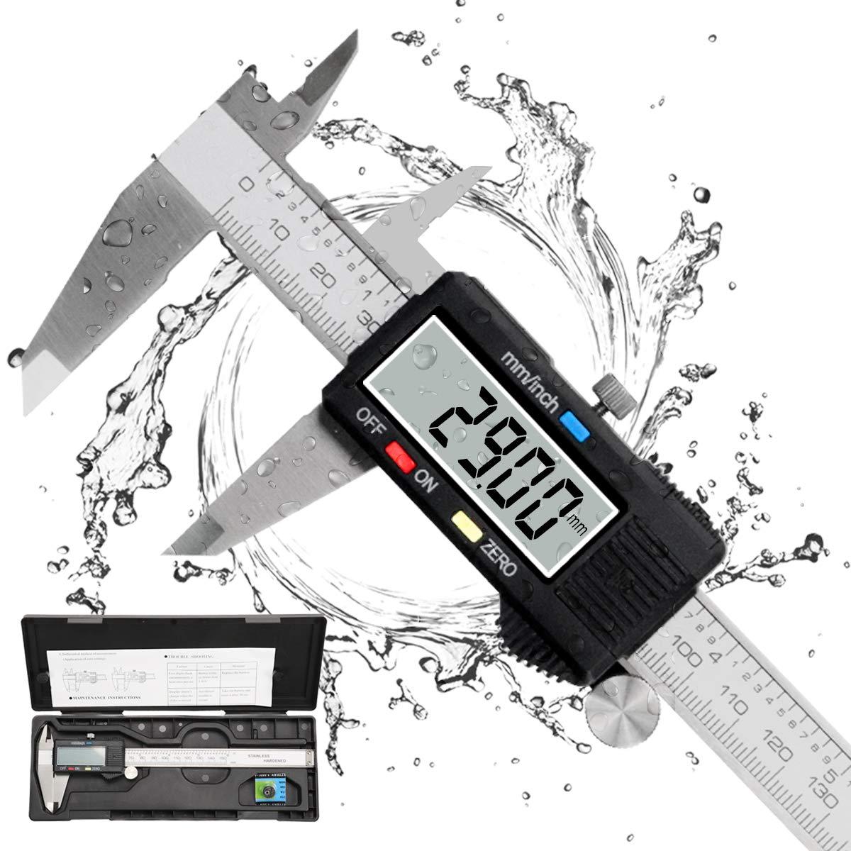 Calibre Digital, Qfun Pie de Rey Profesional Acero Inoxidable 150 mm con Pantalla LCD Grande Calibrador Digital Precisión 0.01mm Impermeable Medir Diámetro Interior Exterior Profundidad