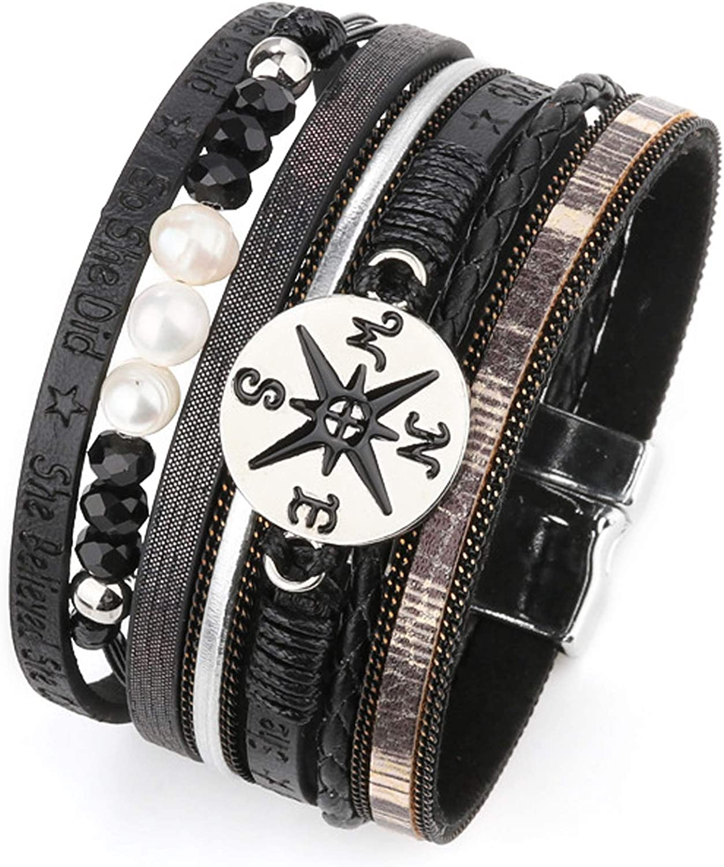 MUERDOU Infinity Leather Cuff Bracelets for Women Handmade Wrap Bangle Boho Bracelets Gifts for Women Teen Girl Brown