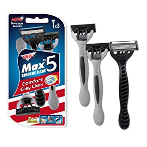 3PCS, Men's Disposable Razor, Max Upgrade 5-Blade Mens Disposable Shaving Razors, The Professional Rotary Head Fits the Face and is Portable, Reusable and can be used as a Travel Razor