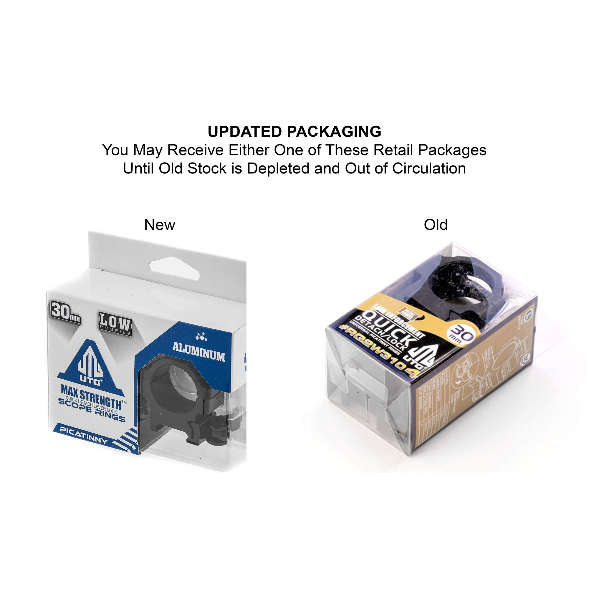 UTG 30mm/2PCs Low Pro LE Grade Picatinny QD Rings: 22mm Wide by UTG