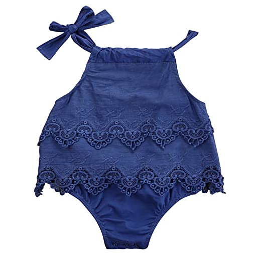 35af4891957 AILOM Newborn Infant Baby Girls Summer Lace Princess Romper Bodysuit  Sleeveless Straps Outfit Playsuit (Blue