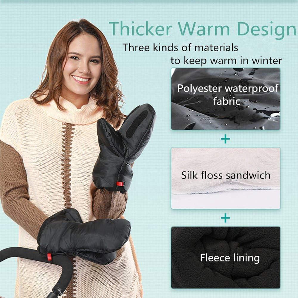 TiooDre Baby Stroller Gloves,Winter Warm Baby Stroller Mitten Gloves Extra Thick Stroller Mitts Waterproof Hand Muff Outdoor