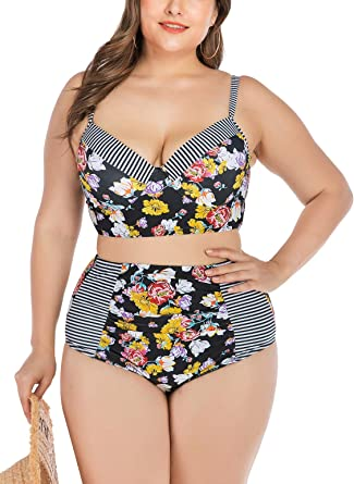 Women Girl High Waist Bikini Swimwear Swimuit Female Retro Beachewear Set X