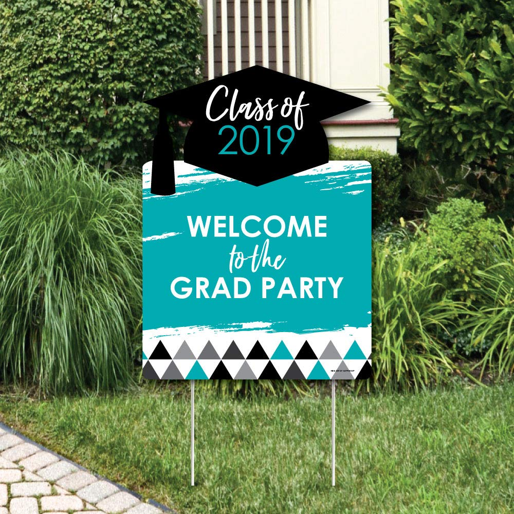 Teal Grad Welcome Yard Sign Black & White Grad  Best is Yet to Come  Party Decorations  Black and White 2018 Graduation Party Welcome Yard Sign