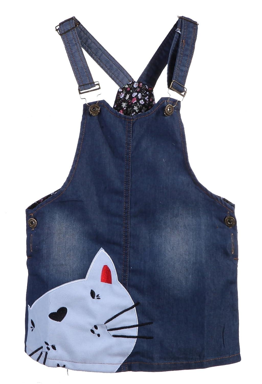 Kids Girls Summer Cute Cat Jeans Overalls Suspender Skirt One Piece Denim Dress