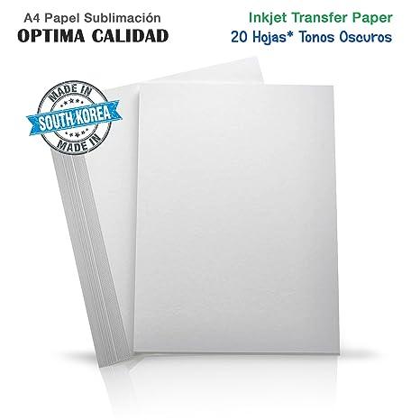 20X Papel de transfer para imprimir en camisetas colores oscuros Algodón, Poliester