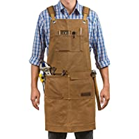 Luxury Waxed Canvas Shop Apron   Heavy Duty Work Apron for Men & Women with Pocket & Cross-Back Straps   Adjustable Tool…
