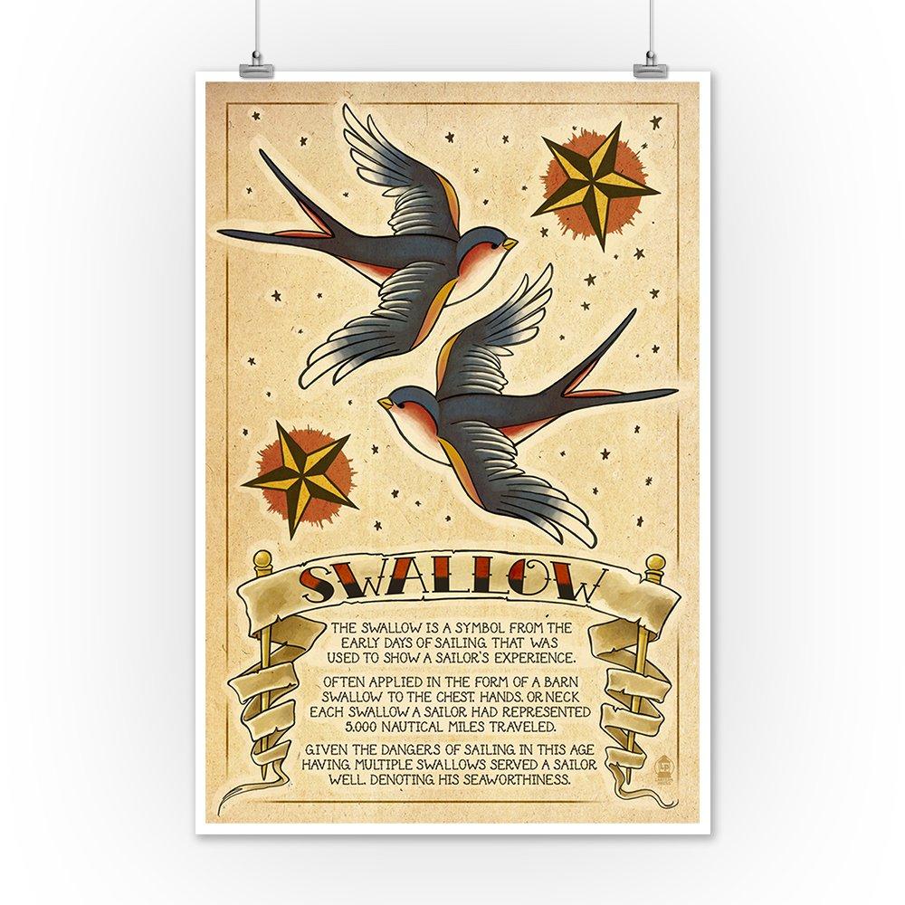 Amazon.com: Tattoo Flash Sheet - Swallow (9x12 Art Print, Wall Decor ...