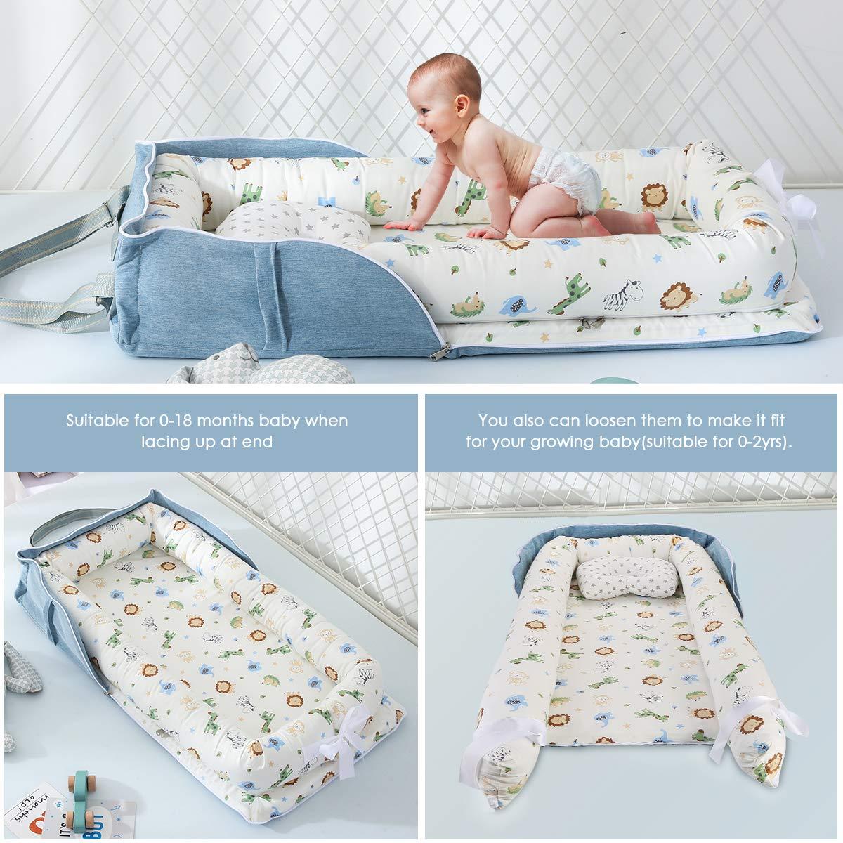 tragbar abnehmbar OhhGo Babybett und Babynest Grau