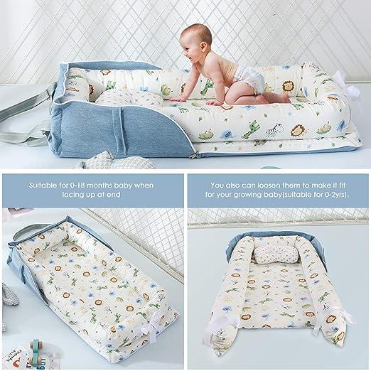 tragbar faltbar Babybett Damohony Babyliege f/ür Neugeborene Babybett f/ür Reisen und Schlafzimmer im Freien 85 x 45 x 12cm Blauer L/öwe