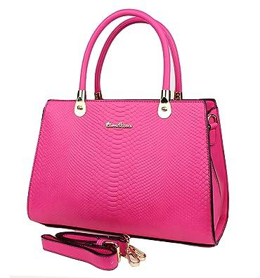 c8193bd47d89c Tom   Eva Damen Tasche aus Kunstleder - Vintage Kroko Henkeltasche Pink  Handtasche