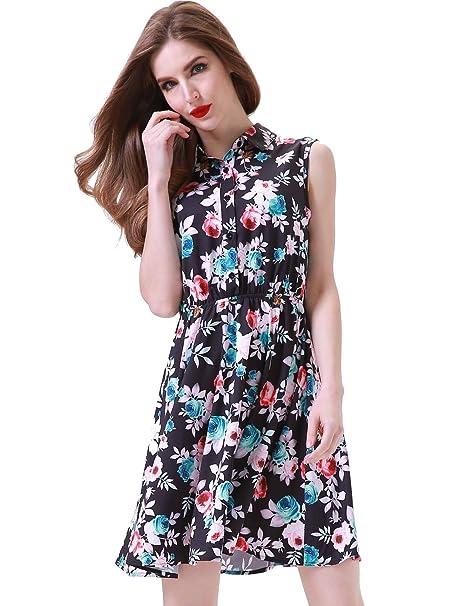 0e8b8ce261d26 Aphratti Women s Sleeveless Half Placket Floral Print Above Knee A-Line  Casual Dress Black Floral