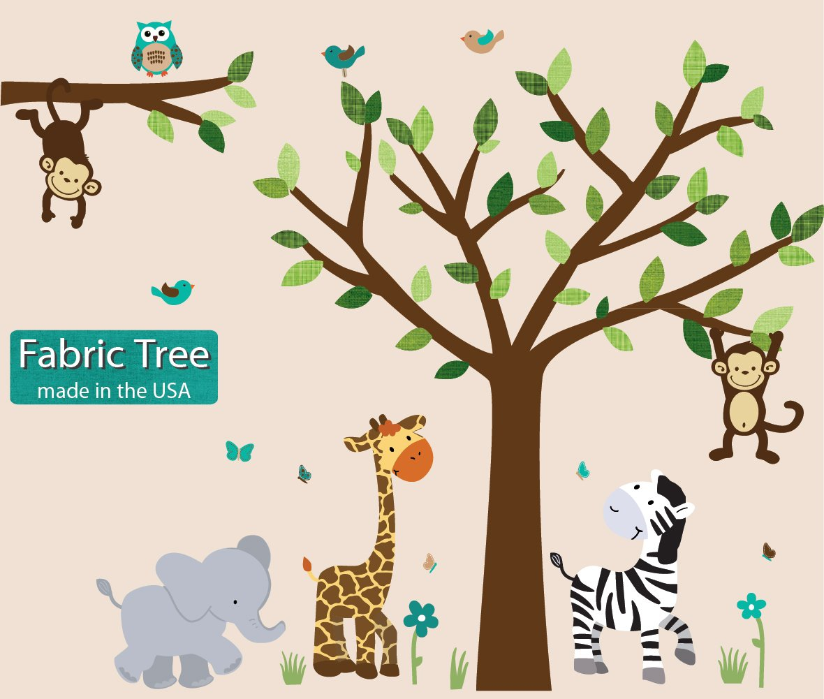 Fabric Safari Evergreen Jungle Tree Wall Decals, Jungle Stickers with Green Leaves