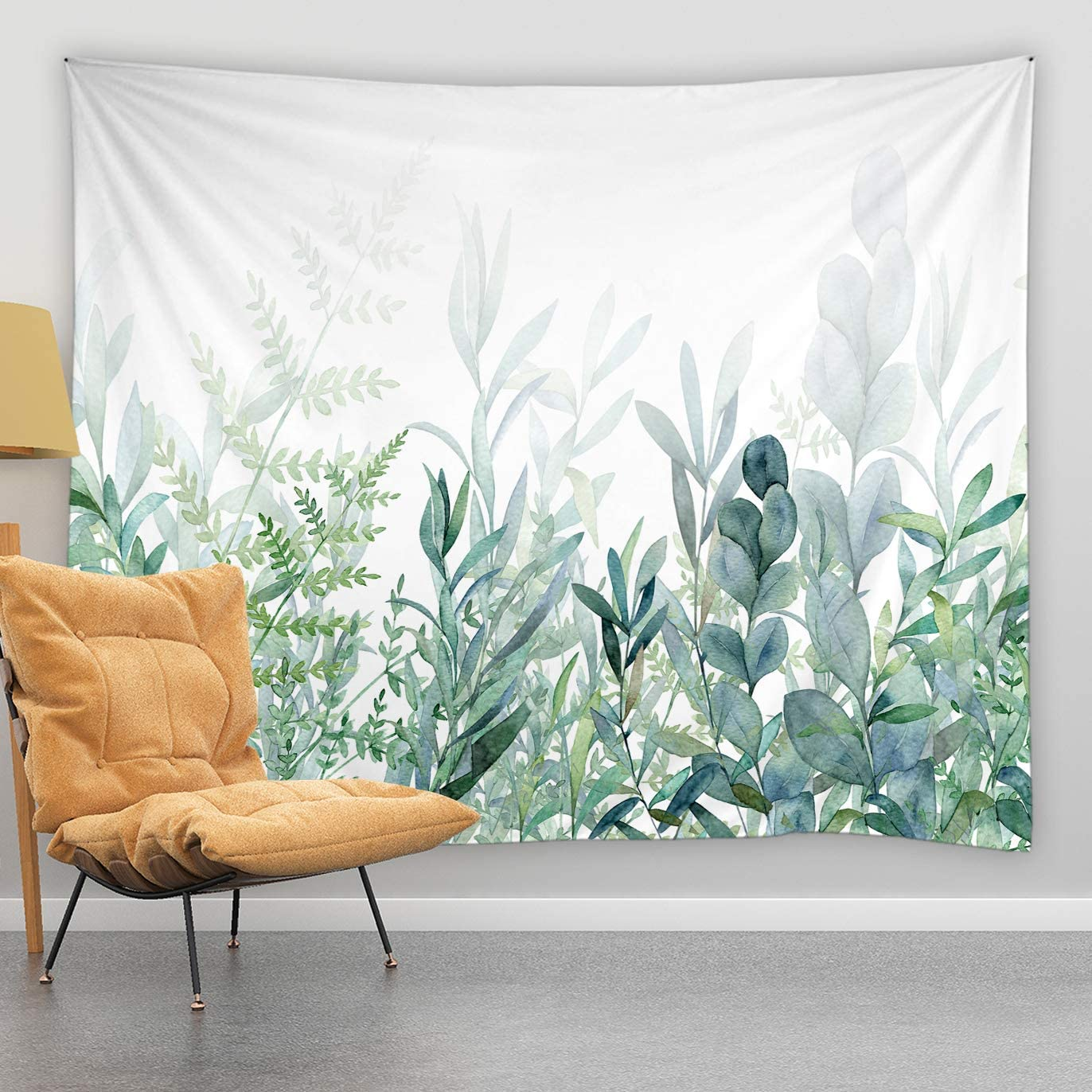 jingjiji Watercolor Green Leaf Tapestry Rustic Green Plant Eucalyptus Spring Botanical Garden Branch Bouquet Dense Jungle Wall Hanging Tapestries Bedroom Living Room Polyester Fabric 60 x 51 Inch