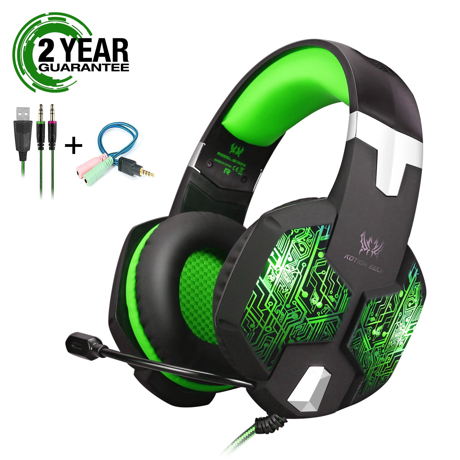 Gaming Headset with Mic and USB RGB LED Light for PS4 Xbox One PC Nintendo Switch,Lightweight Stereo Sound Over Ear Headphones,Soft Memory Earmuffs & Noise Cancelling & Volume Control (Green)