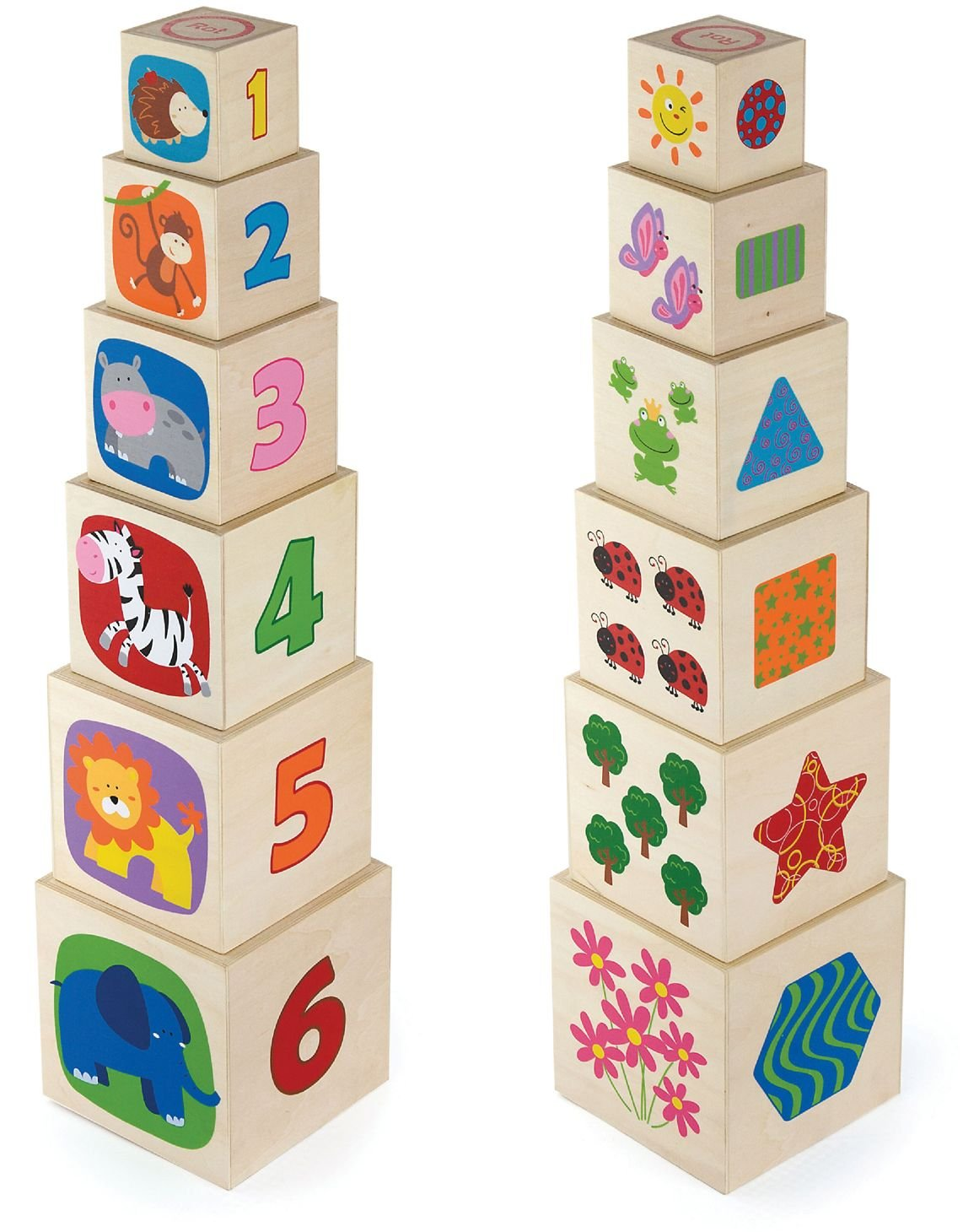 Viga Toys - 50392 - Forme À Trier Et À Empiler - Cubes Gigognes - 6 Cubes - Bois New Classic Toys 2043586 Forme à Trier et à Empiler