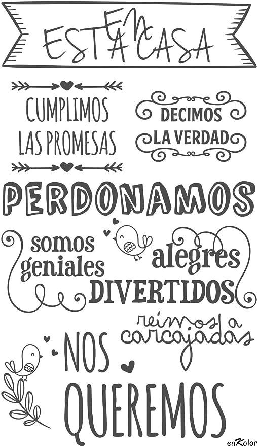 Enkolor Vinilos decorativos frases Normas casa/Pegatinas pared/Blanco/90X155cm. Color blanco: Amazon.es: Hogar