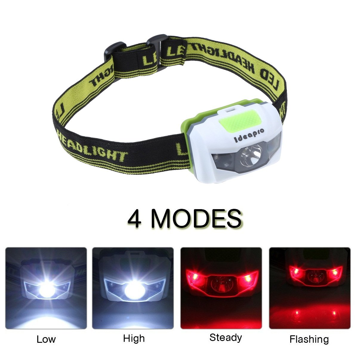 LED Headlamp Batteries Powered Head light Adjustable Waterproof Super Bright Flashlight Headlight with Red Strobe for Outdoor Running Fishing Hunting Camping Hiking Walking and Kids (Green)