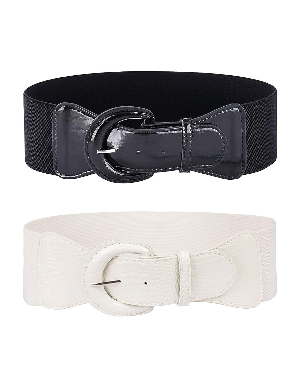 GRACE KARIN Womens Wide Stretchy Cinch Belt Vintage Chunky Buckle Belts S-XXXXL