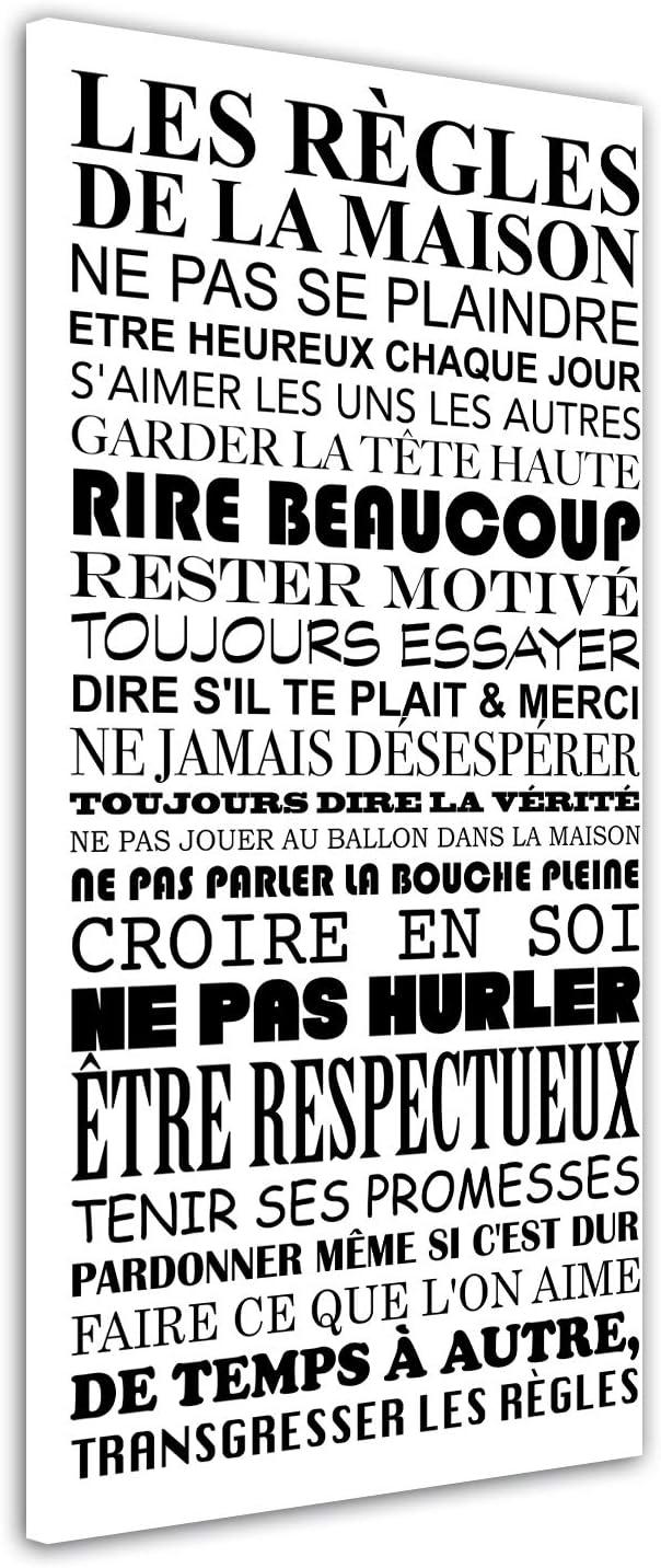 Impression Citation sur Toile d/écoration Murale Cuisine Chambre Adulte Salon DECLINA Tableau Home Les R/ègles de la Maison Noir et Blanc 60x30 cm D/éco Maison