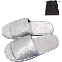 5 Pair of Open Toe Breathable Slippers, Spa Slippers for Guests, Hotel, Travel, Unisex Universal Size Washable and Non-Disposable Gray