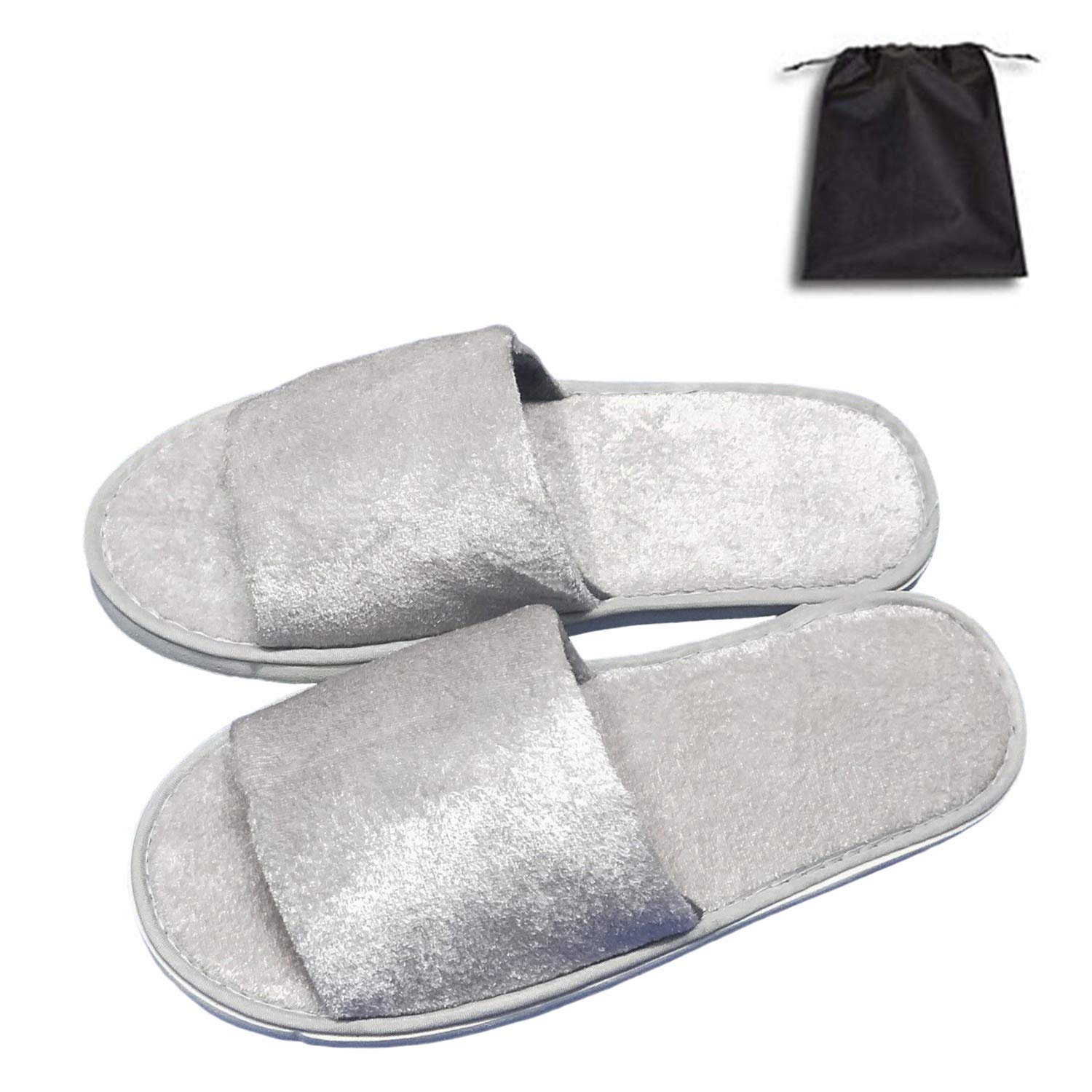 5 Pair of Open Toe Breathable Slippers, Spa Slippers for Guests, Hotel, Travel, Unisex Universal Size Washable and Non-Disposable Gray by Tee-Mo