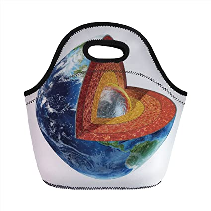Neoprene Lunch BagEarthEarth Cross Section Showing The Inner Core Geology Science Themed