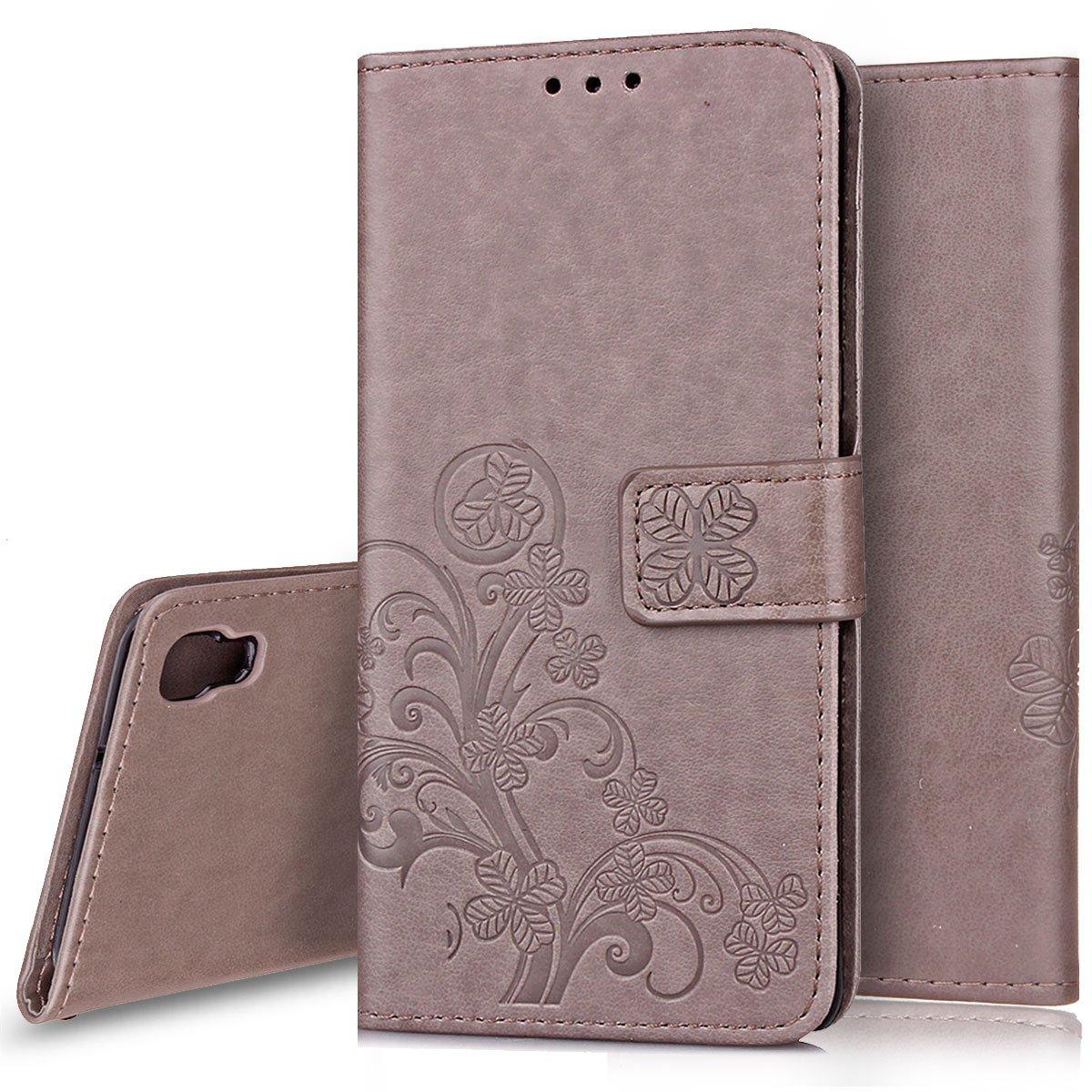 Ukayfe Custodia LG X Power Flip Cover Wallet Case Custodia in Pelle PU con Trifoglio Disegno con Super Sottile Morbido Silicone TPU Interno Case Protettiva Cover Copertura per LG X Power-Grigio