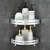 Hoomtaook Corner Caddy Bathroom Shower Shelf Wall Mounted No Drilling 2 Tier Storage Shelves Adhesive Triangle Baskets Silver Bathroom Kitchen Storage Basket