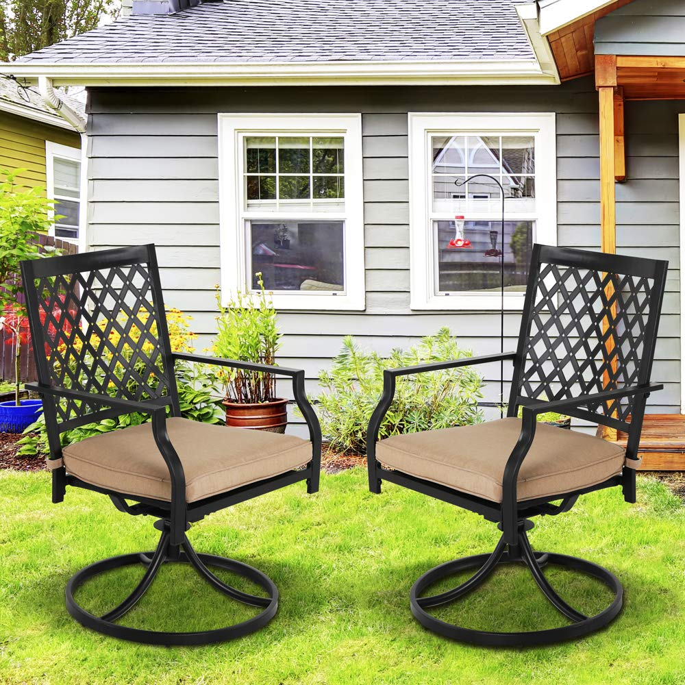 Swivel Patio Dining Chairs Black Metal Outdoor Furniture Patio Set with Arm for 2