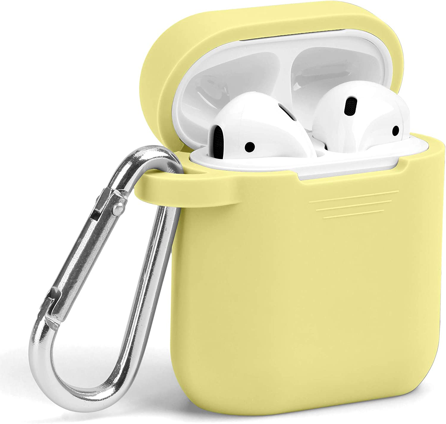 Airpods Case, GMYLE Silicone Protective Shockproof Wireless Charging Airpods Earbuds Case Cover Skin with Keychain kit Set Compatible for Apple AirPods 2 & 1 – Light Yellow