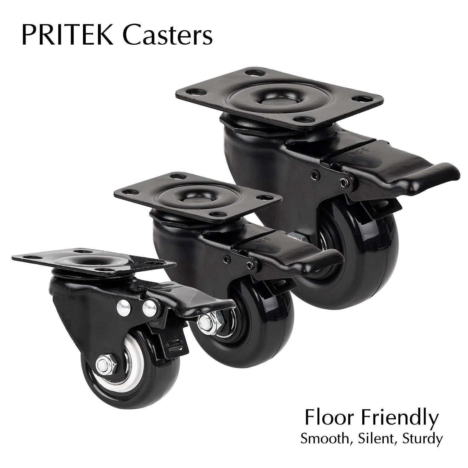 4'' Swivel Plate Caster Wheels, PRITEK Heavy Duty Metal Caster Wheels Lock the Top Plate and the Wheels Replacement for Industrial Trailer or Large Home Furniture (bearing 250lbs each, set of 4) by PRITEK (Image #7)
